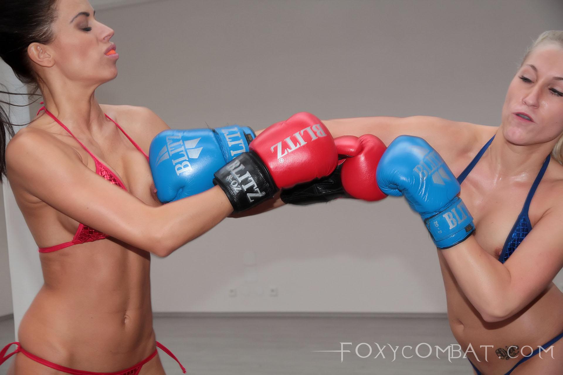 Blonde vs Brunette bikini boxing match